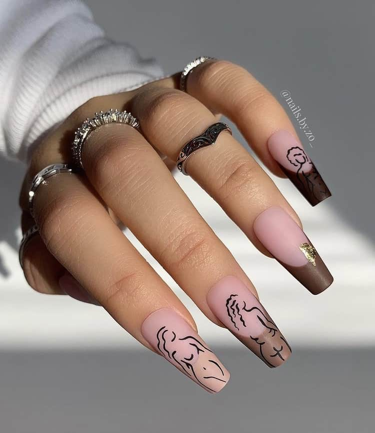 nude body art French tips nails