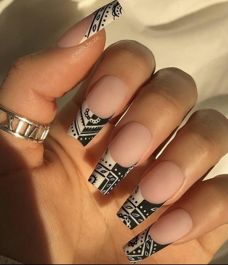 bandana print French nails