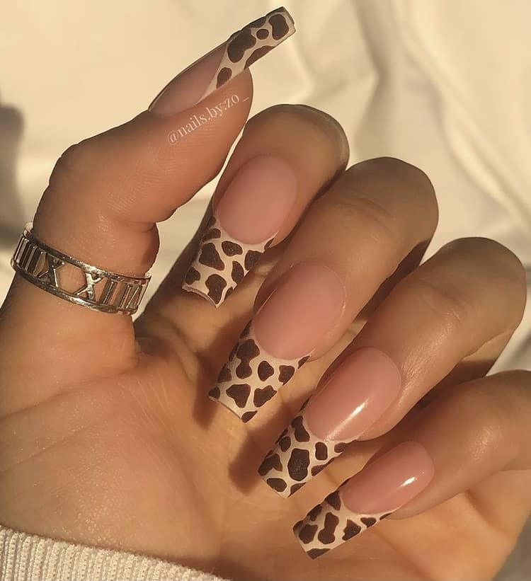 cow print French tips nails