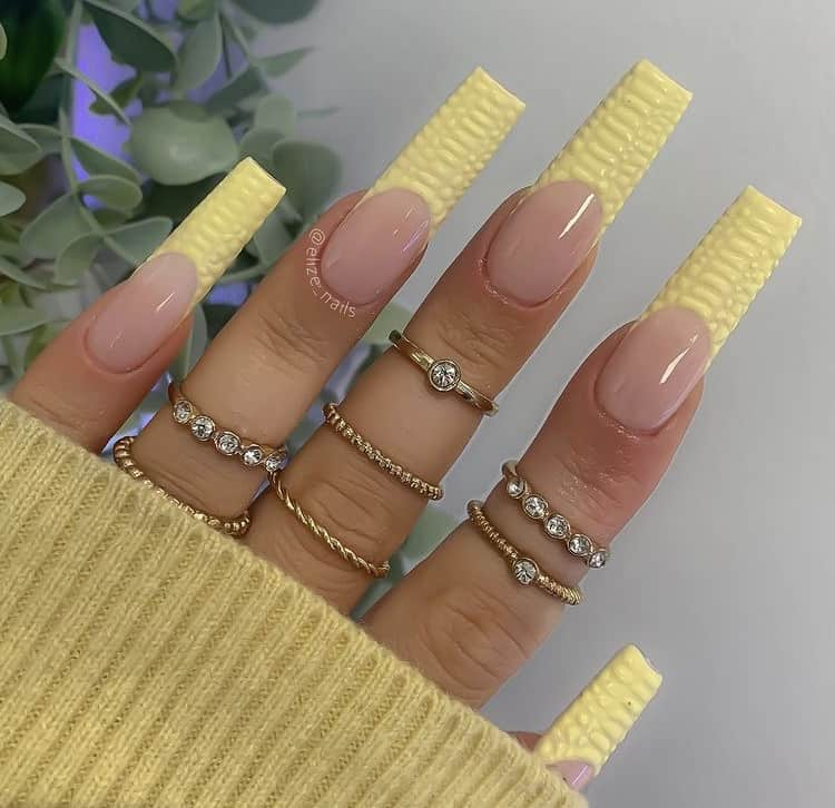 croc textured French nails tips
