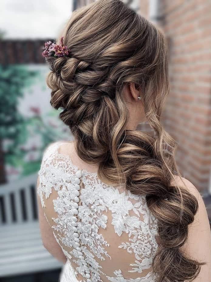 pull through braids bridal hairstyle